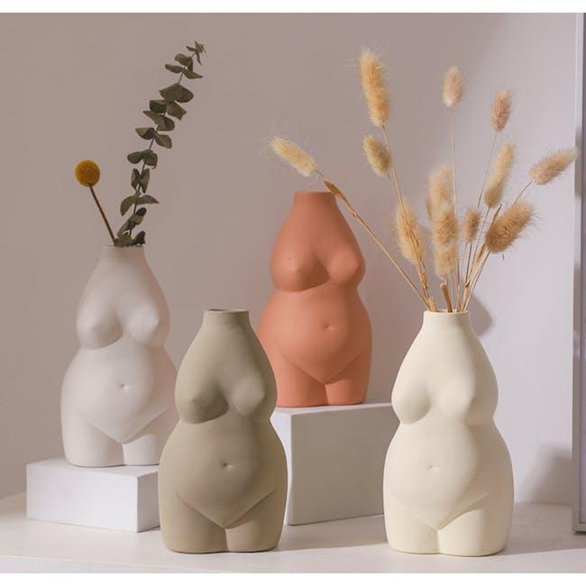 Female Sculpture Body Art  Ceramic Vase - Light Terracotta - 2