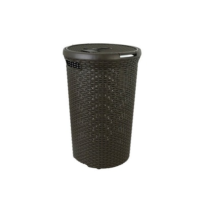 Rattan Style Round Hamper - Dark Brown