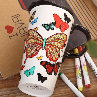 DIY Ceramic Travel Mug - Butterfly Kisses