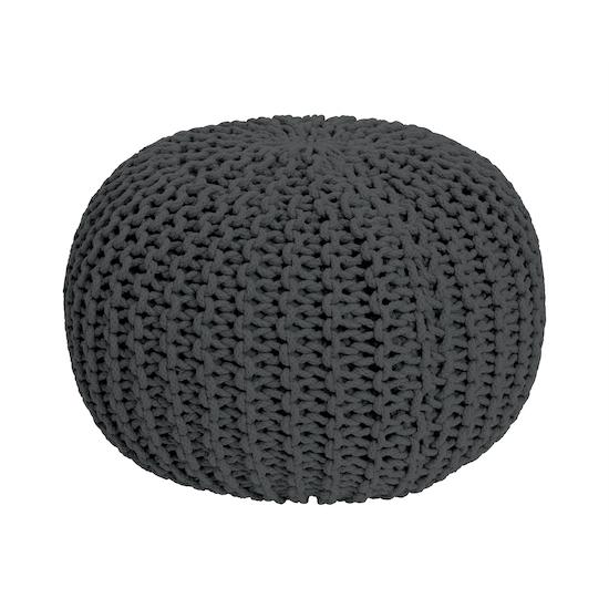 Singla Textiles - Moana Knitted Pouf - Charcoal Grey