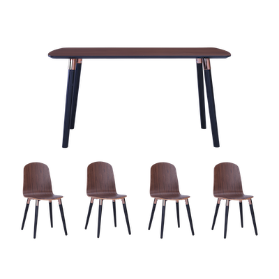 Jazz Dining Table 1.5m with 4 Vali Dining Chairs - Walnut - Image 1