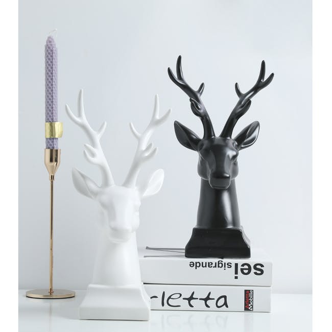 Deer Head Decor/Bookends  (Set of 2) - White - 3