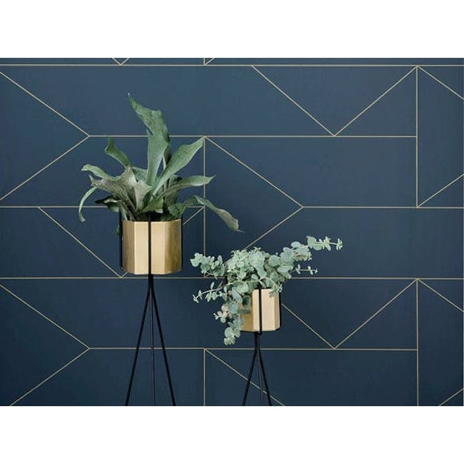 Logan Floor Planter - Brass - 1