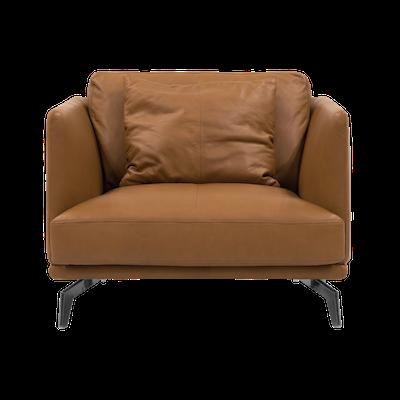 Como 1.5 Seater Sofa - Tan (Premium Cowhide), Down Feathers - Image 1