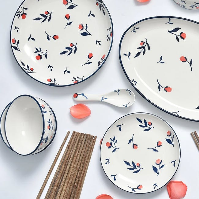 Table Matters Rose Sweet Hand Painted Rice Plate - 1