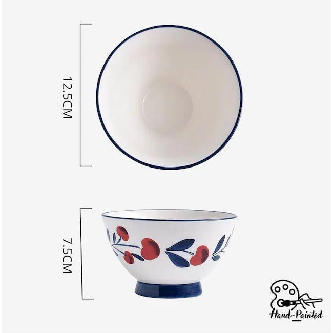 Table Matters Holiday Berry Hand Painted  Salad Bowl - 3