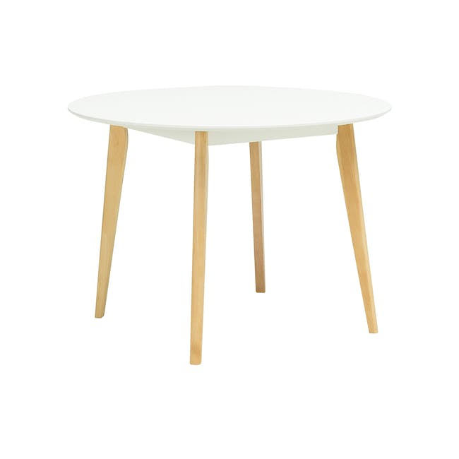 Harold Round Dining Table 1m with 4 DSW Chairs - White - 1