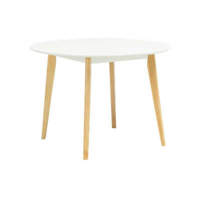 Harold Round Dining Table 1m with 4 DSW Chairs - White - Image 2