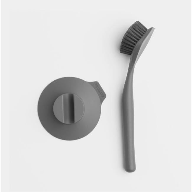 Dish Brush with Silicon Cup holder - Dark Grey - 3