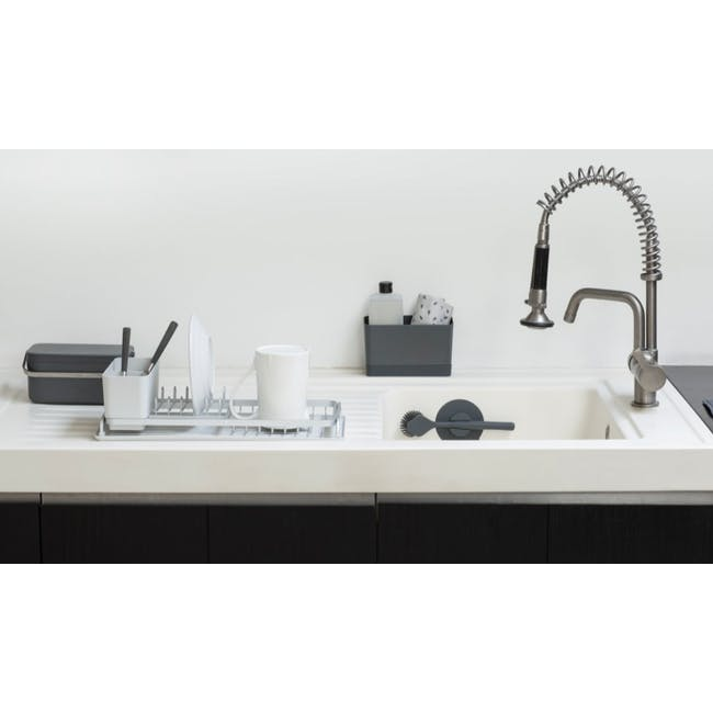 Dish Brush with Silicon Cup holder - Dark Grey - 1