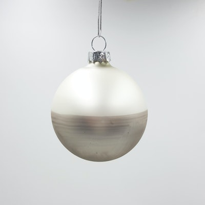 Divided Ornament - Silver/Pearl White
