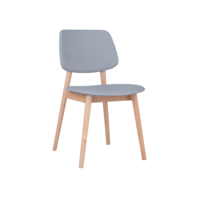 Riley Dining Chair with Cushioned Backrest - Oak, Light Grey - Image 1