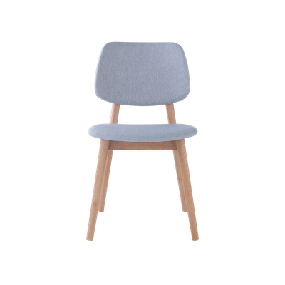 Riley Dining Chair with Cushioned Backrest - Oak, Light Grey - Image 2
