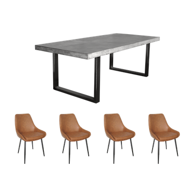 Titus Dining Table with 4 Ethan Side Chairs - Image 1