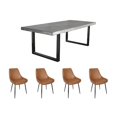 Us Dining Table With 4 Ethan Side Chairs Image 1