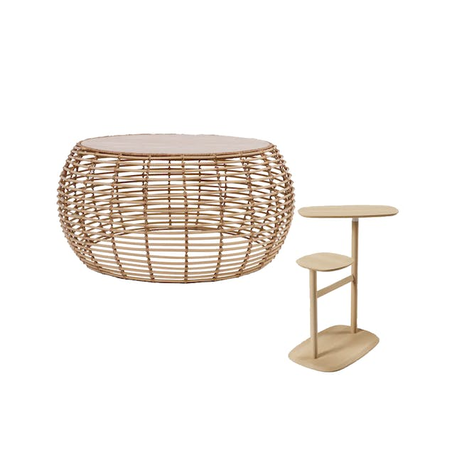 Nora Rattan Coffee Table with Swivo Side Table - 0