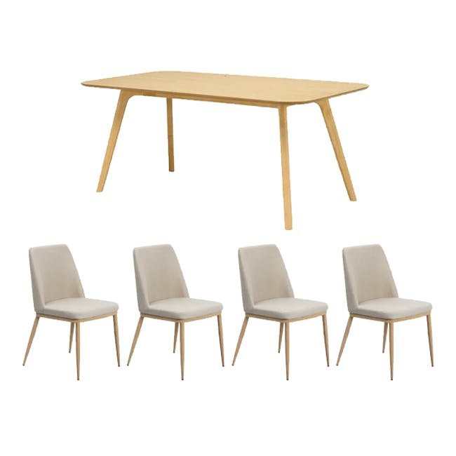 Roden Dining Table 1.8m in Cocoa with 4 Kate Dining Chairs in Beige - 0