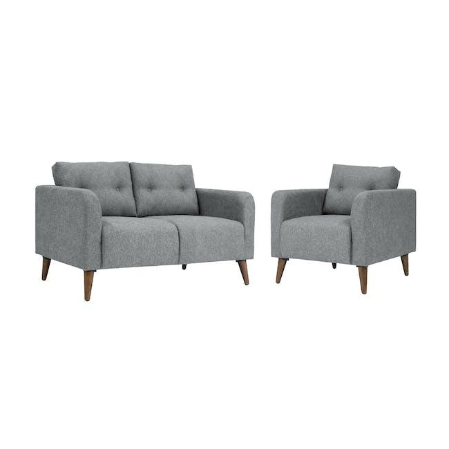Bennett 2 Seater Sofa with Bennett Armchair - Gray Owl - 0