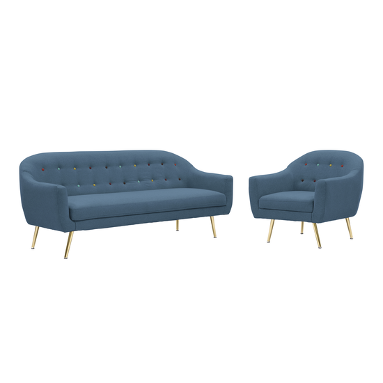 Arden 3 Seater Sofa with Arden Armchair - Blue, HipVan Bundles ...
