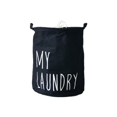 Jute Drawstring Laundry Basket  - Navy