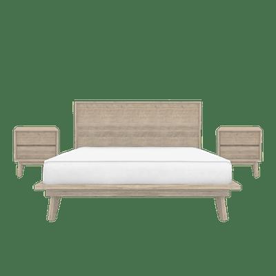 Leland King Platform Bed with 2 Leland Twin Drawer Bedside Tables - Image 1