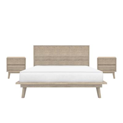 Leland King Platform Bed With 2 Twin Drawer Bedside Tables Image 1