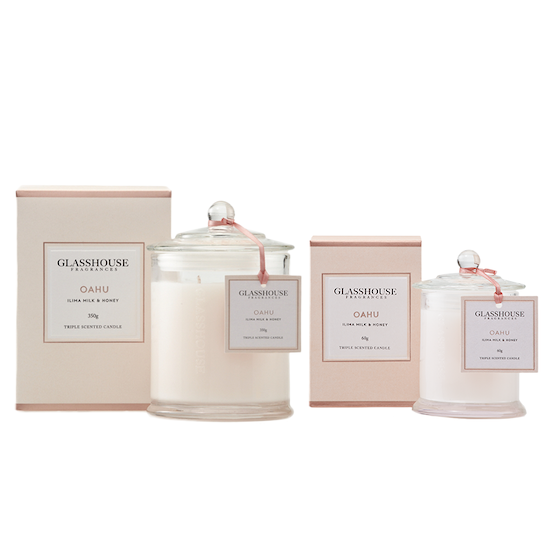 Glasshouse Fragrances - Oahu Candle - Ilima Milk & Honey