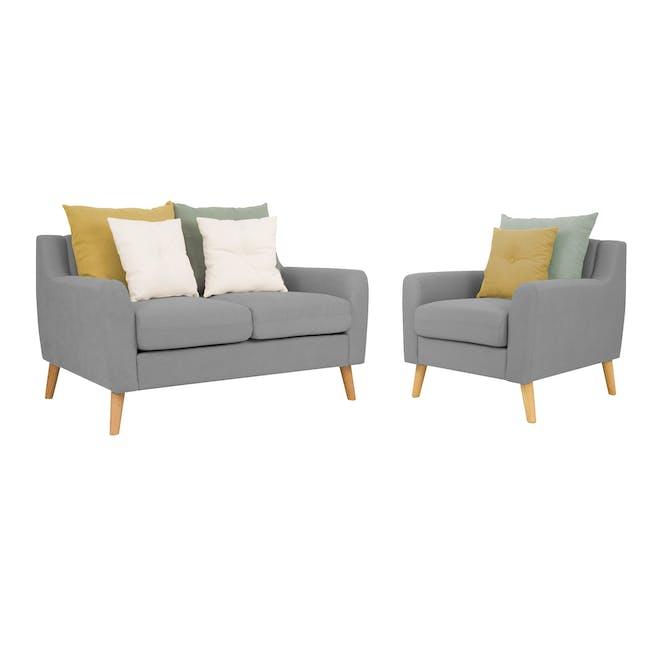 Evan 2 Seater Sofa with Evan Armchair - Slate - 0