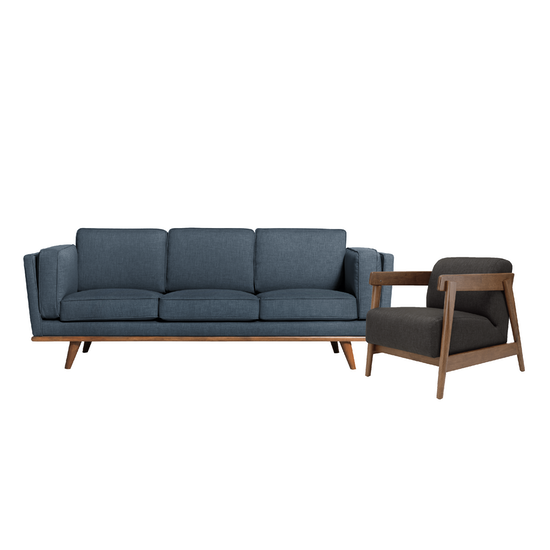 Carter 3 Seater Sofa in Space Blue with Daewood in Dark Grey