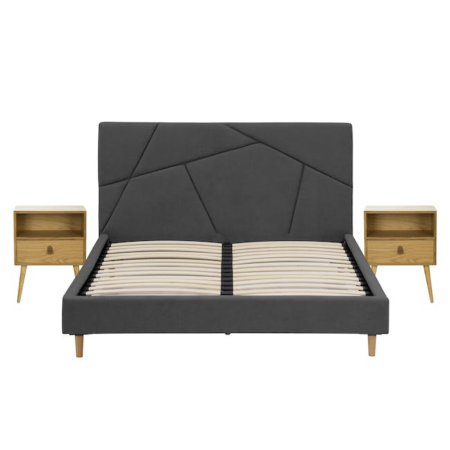 Kieran King Bed in Onyx Grey with 2 Odin Bedside Tables in Natural - 0