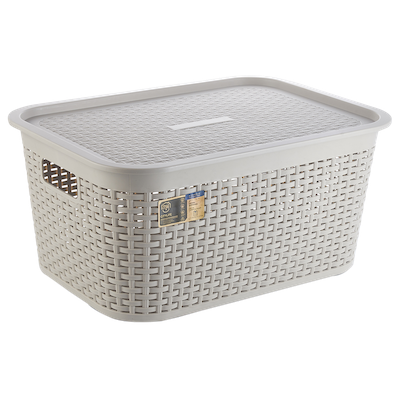 Rattan Laundry Basket with Lid - Ice Grey - Image 1
