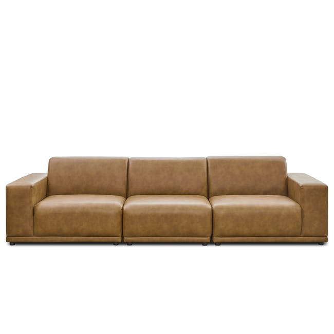 Milan 4 Seater Sofa - Tan (Faux Leather) - 0