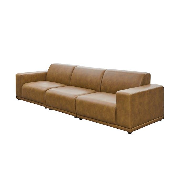 Milan 4 Seater Sofa - Tan (Faux Leather) - 2