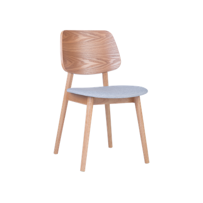 Riley Dining Chair - Oak, Light Grey - Image 1