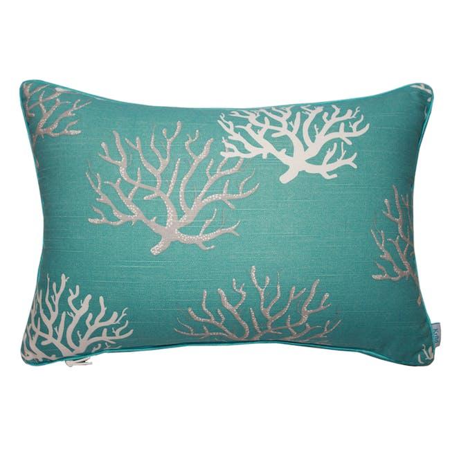 Coral Rectangle Cushion - Aqua - 0