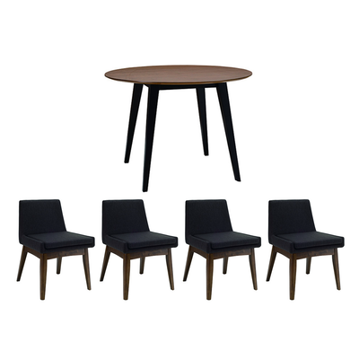 Ralph 4 Seater Round Dining Room Set - Black, Cocoa - Image 1