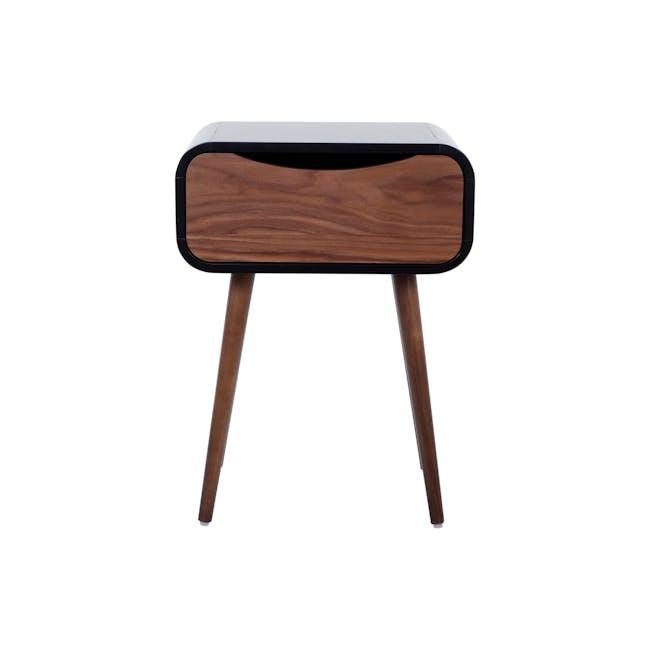 Albie Bedside Table - Walnut, Black - 2