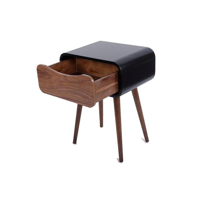 Albie Bedside Table - Walnut, Black - 3