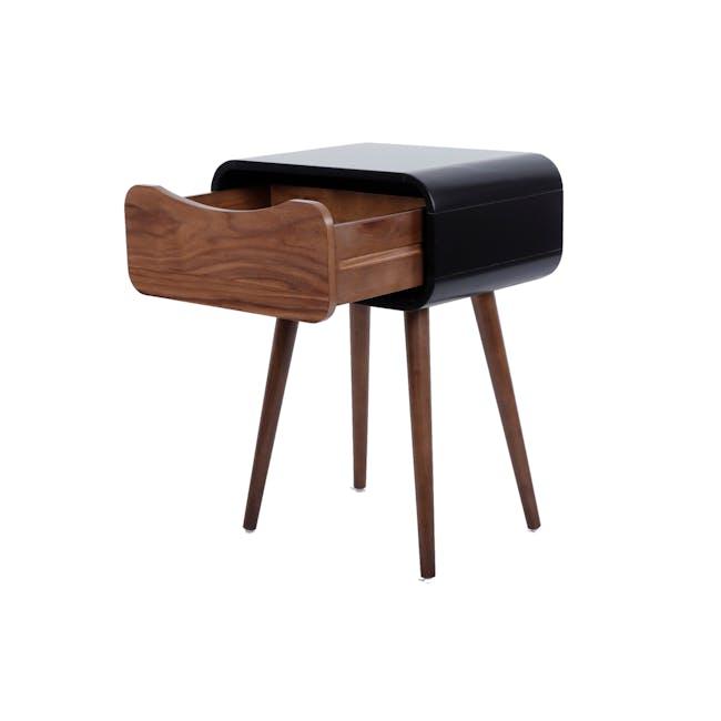 Albie Bedside Table - Walnut, Black - 1