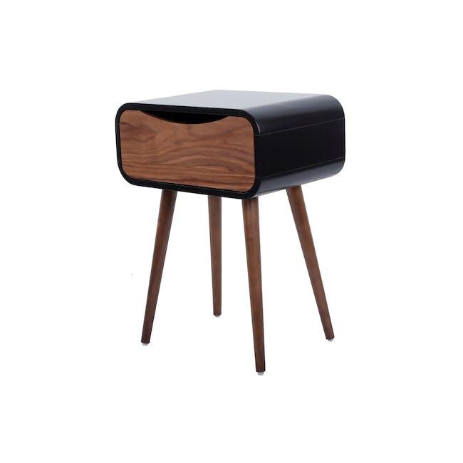 Albie Bedside Table - Walnut, Black - 0