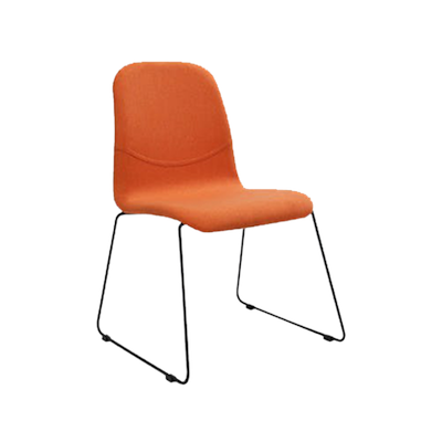 (As-is) Ava Dining Chair - Matt Black, Tangerine - 3 - Image 1