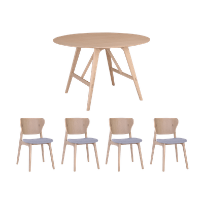 Fidel Round Dining Table 1.2m with 4 Fabiola Dining Chairs - Oak - Image 1