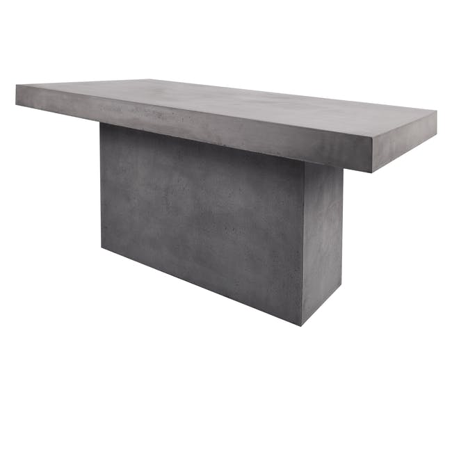 Ryland Concrete Dining Table 1.6m with 4 Edson Dining Armchairs in Titanium and Mocha Faux Leather - 1