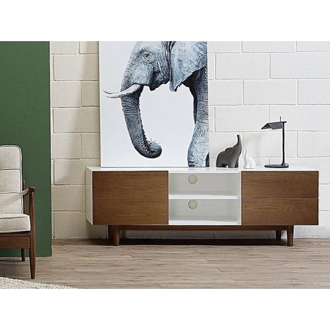 Aalto TV Cabinet 1.6m - White, Natural - 1