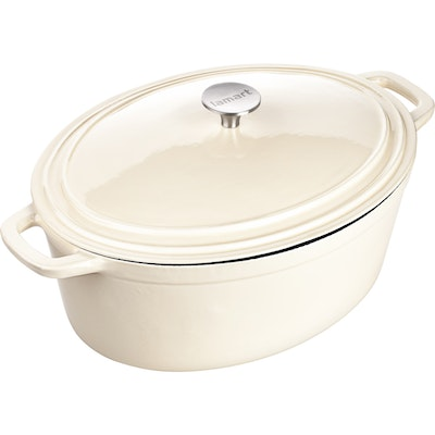 Lamart Oval Pot With Lid - Cream - Image 1