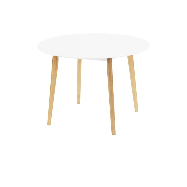 (As-is) Harold Round Dining Table 1m - Natural, White - 22 - 0