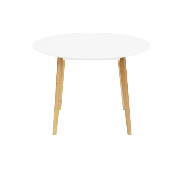 (As-is) Harold Round Dining Table 1m - Natural, White - 22 - 12