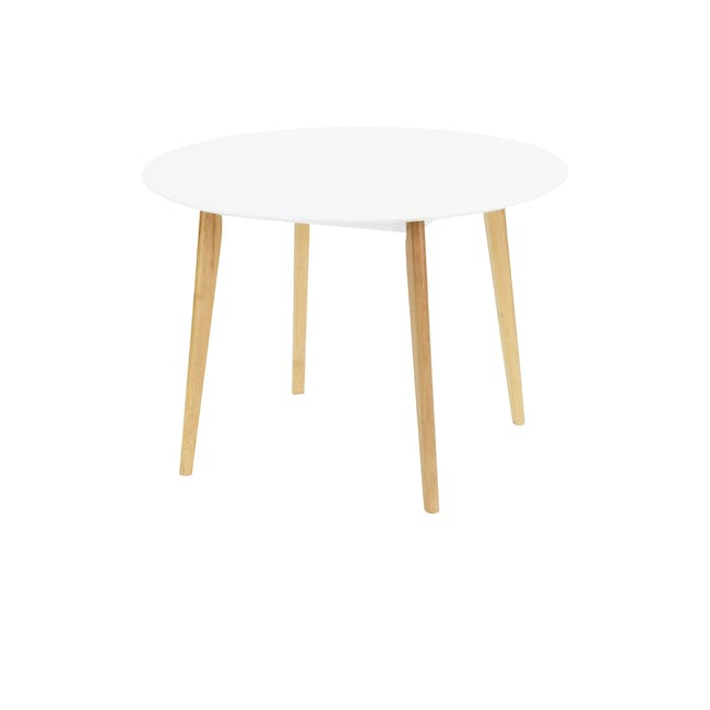 (As-is) Harold Round Dining Table 1m - Natural, White - 24 - 0