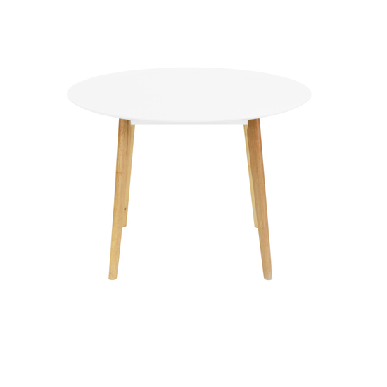 Malmo - Harold Round Dining Table 1m - Natural, White