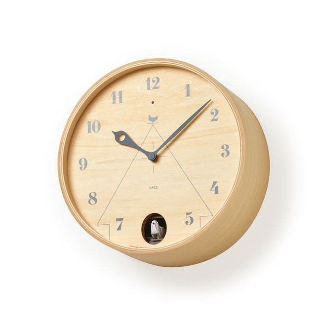 Pace M Size Wall Clock - Natural Wood - 1